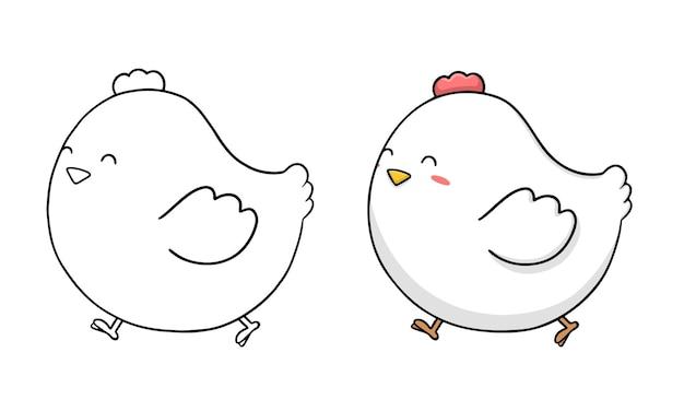 Kleurplaat voor kinderen met schattige kippencartoon