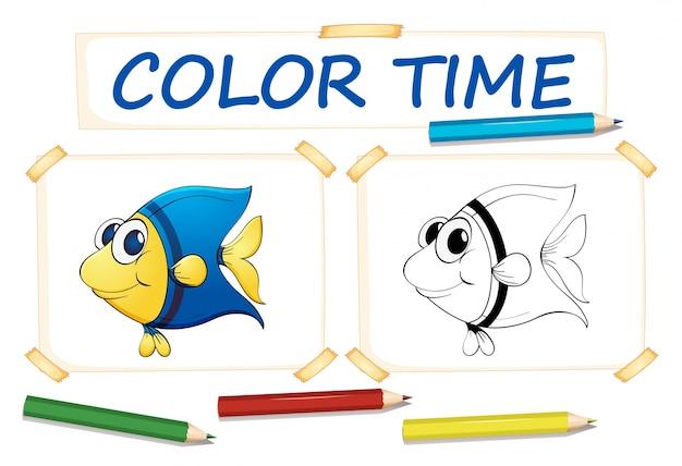 Kleurplaat voor schattige vis