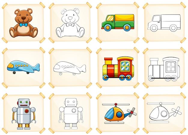 Kleurplaat voor verschillende speelgoed
