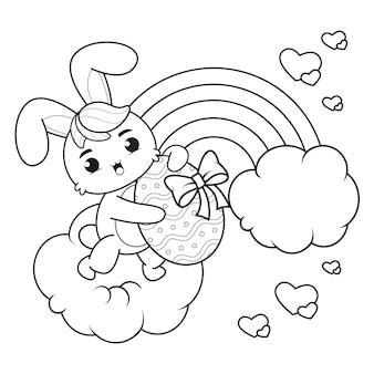 Kleurplaat vrolijk pasen met konijn