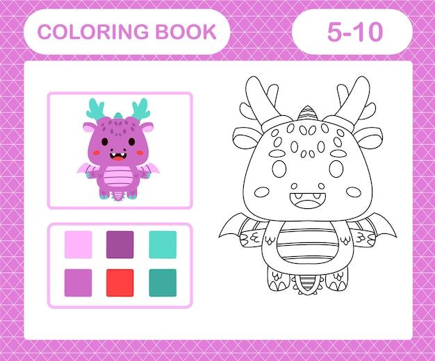 Kleurplaten cartoon draak, educatief spel voor kinderen van 5 en 10 jaar oud