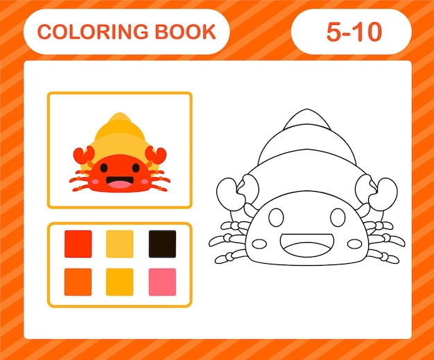 Kleurplaten cartoon heremietkreeft, educatief spel voor kinderen van 5 en 10 jaar oud