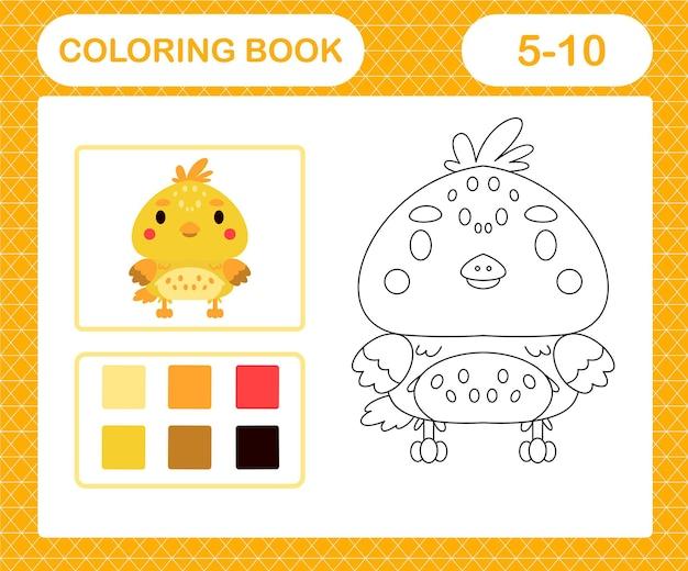 Kleurplaten cartoon kuiken, educatief spel voor kinderen van 5 en 10 jaar oud