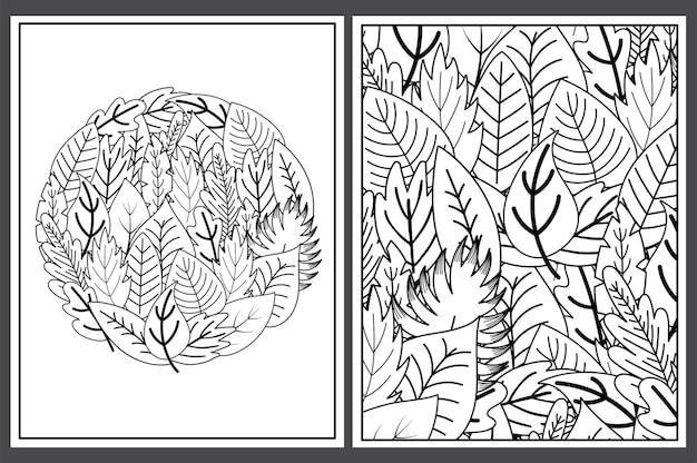 Kleurplaten met doodle bladeren