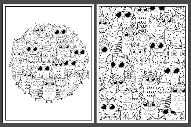 Kleurplaten met schattige uilen doodle vogels voor kleurboek
