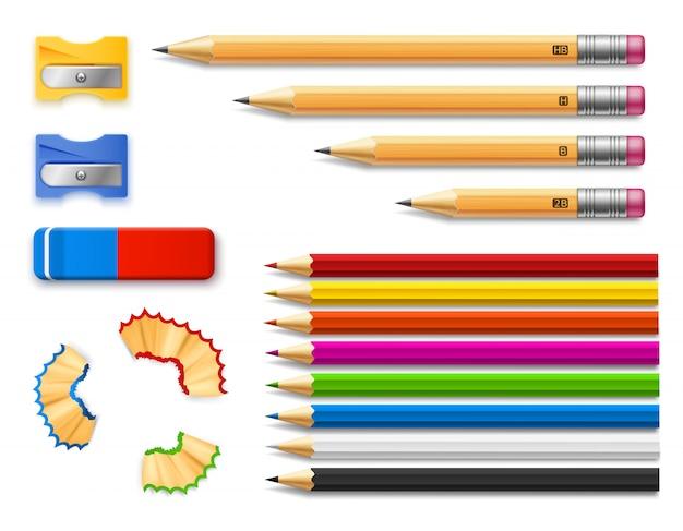Kleurpotloden en potloden van verschillende lengtes met puntenslijpers en gum.