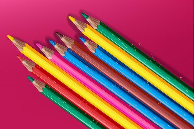 Kleurpotloden kleurrijke aquarel. terug naar school