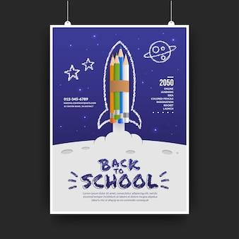 Kleurpotloden raket lancering naar de achtergrond van de ruimte, welkom terug op school-concept