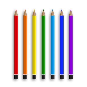 Kleurpotloden voor kantoorbehoeften en scholen op wit worden geïsoleerd dat