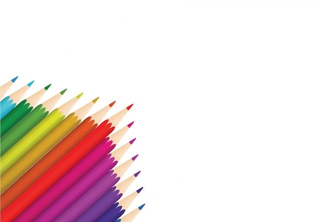 Kleurpotloden worden op wit papier geplaatst