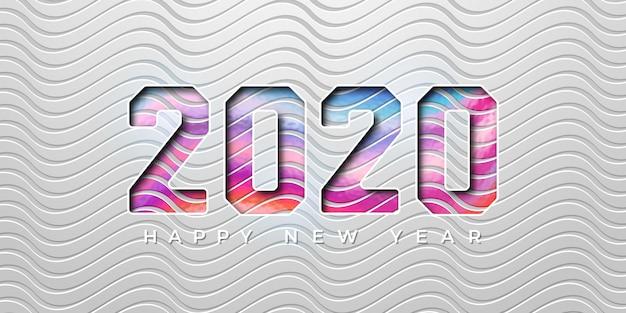 Kleurrijk 2020 nieuwjaar in 3d-stijl. 2020 nieuwjaarswenskaart
