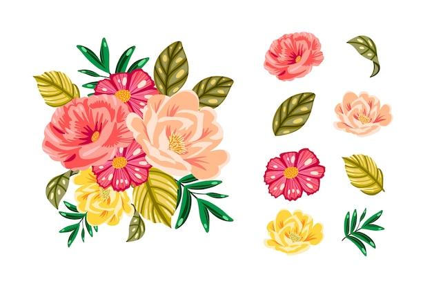 Kleurrijk 2d bloemenboeketpakket