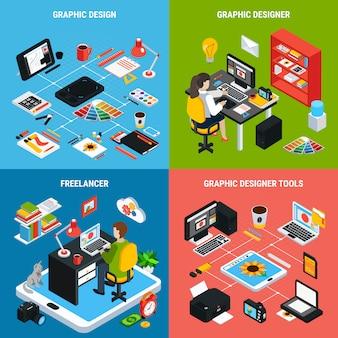 Kleurrijk 2x2 concept met grafische ontwerpillustrator of ontwerper en diverse hulpmiddelen voor het werk 3d isometrische geïsoleerde vectorillustratie