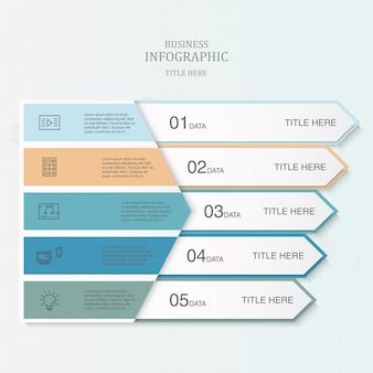 Kleurrijk 5 element van driehoeks infographic malplaatje voor bedrijfsconcept.