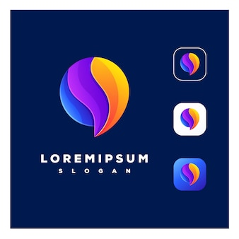 Kleurrijk abstract chat-logo