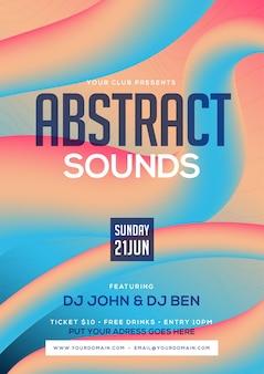 Kleurrijk abstract geluid feestmuziek flyer of posterontwerp