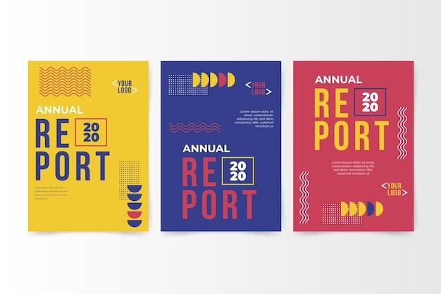 Kleurrijk abstract jaarverslag met memphis