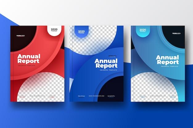 Kleurrijk abstract jaarverslagmalplaatje met foto