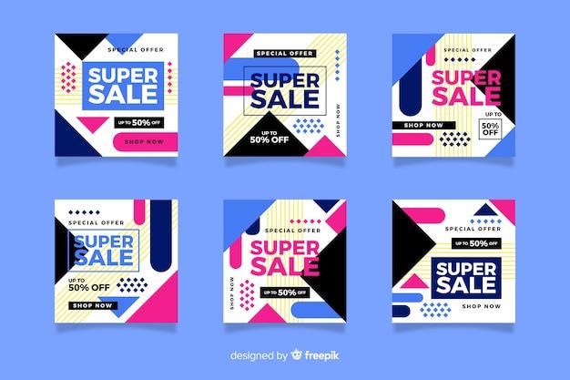 Kleurrijk abstract verkoop instagram postpakket