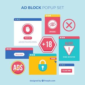 Kleurrijk advertentieblokconcept met vlak ontwerp