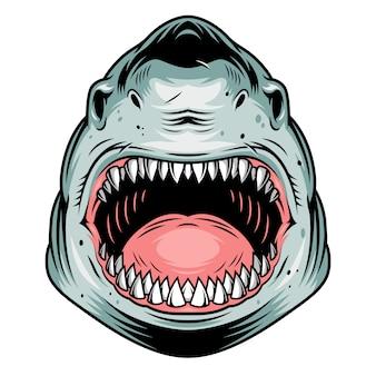 Kleurrijk agressief haai hoofdconcept