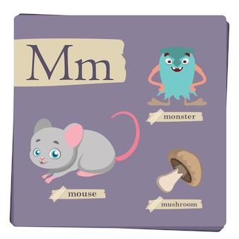 Kleurrijk alfabet voor kinderen - letter m