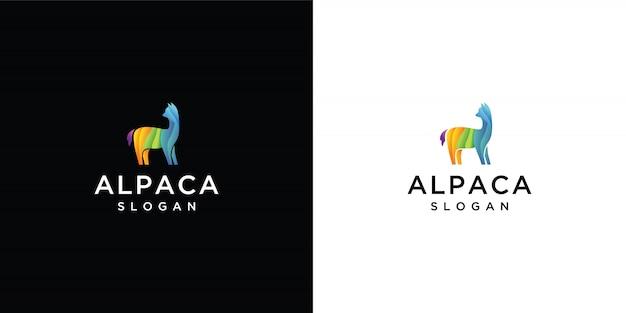 Kleurrijk alpaca-logo