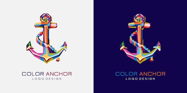 Kleurrijk anker logo
