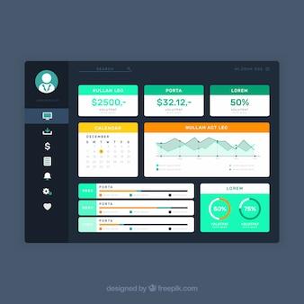 Kleurrijk app-dashboard met plat ontwerp