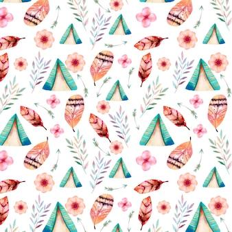 Kleurrijk aquarel boho-patroon