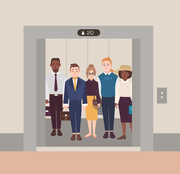 Kleurrijk beeld dat een groep mensen illustreert die zich in een open lift bevinden. mannen en vrouwen die een pak in klassieke stof dragen. platte cartoon vectorillustratie.