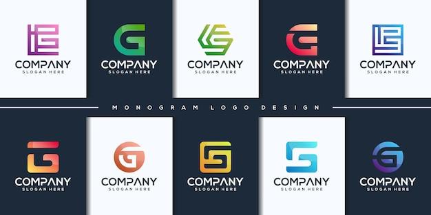 Kleurrijk beginletter g logo-ontwerp instellen