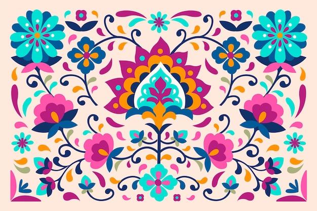 Kleurrijk behang met mexicaanse en exotische bloemen