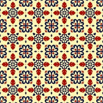 Kleurrijk betegelbaar patroon met plat ontwerp.