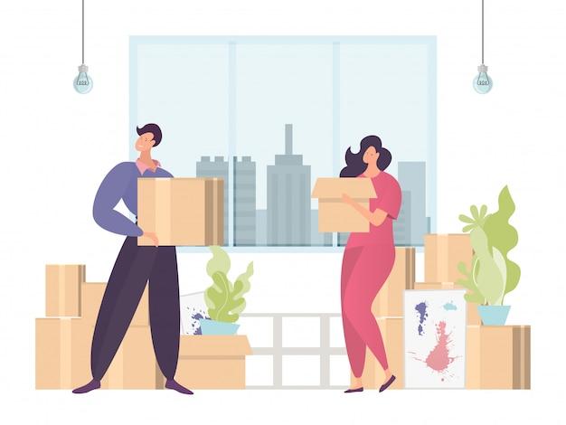 Kleurrijk bewegend concept, dozen vervoeren naar nieuwe thuiskantoor, snelle en gemakkelijke levering, ontwerp, cartoon illustratie.