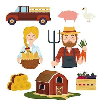 Kleurrijk biologisch landbouwconcept