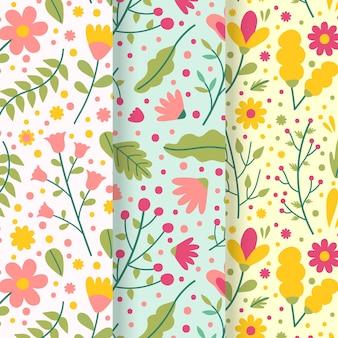 Kleurrijk bladeren en bloemen naadloos de lentepatroon