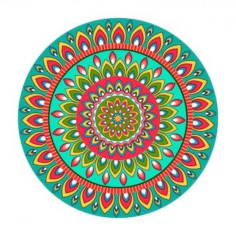 Kleurrijk bloemen rond mandala-patroonontwerp.