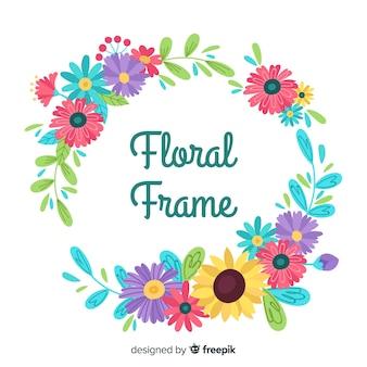 Kleurrijk bloemencirkel kader