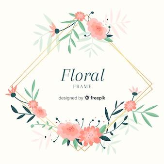 Kleurrijk bloemenkader met vlak ontwerp