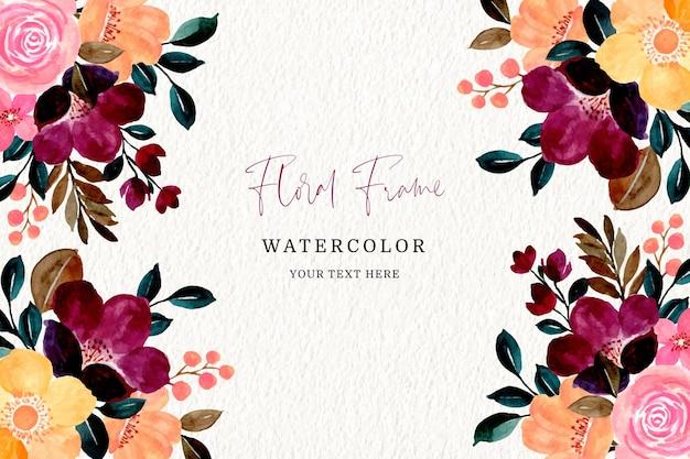 Kleurrijk bloemenkader met waterverf