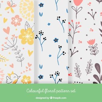 Kleurrijk bloemmotief set