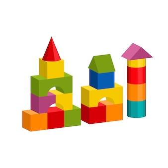 Kleurrijk blokkenstuk speelgoed de bouwtoren, kasteel, huis