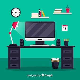 Kleurrijk bureau met plat ontwerp
