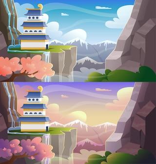 Kleurrijk cartoon aziatisch kasteel op de piek van de bergen 's ochtends en overdag met wolkenhemel. vector illustratie