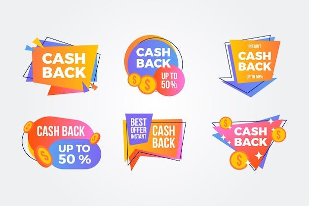 Kleurrijk cashback etikettenpakket