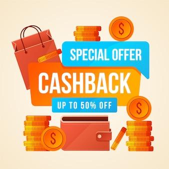 Kleurrijk cashbackconcept met muntstukken