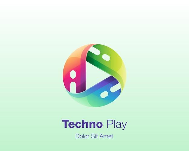 Kleurrijk cirkel spel technologie logo Premium Vector