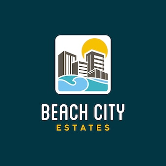 Kleurrijk cityscape en strandlogo ontwerp