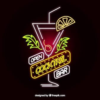 Kleurrijk cocktailneonteken